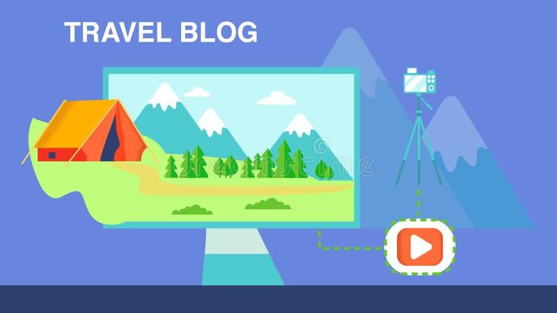 Campa för bloggvektor för lopp video illustration vektor illustrationer