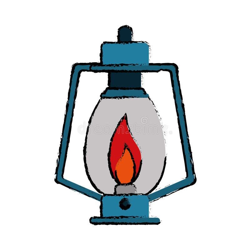 Campa för lykta för teckningslampfotogen gammalt royaltyfri illustrationer