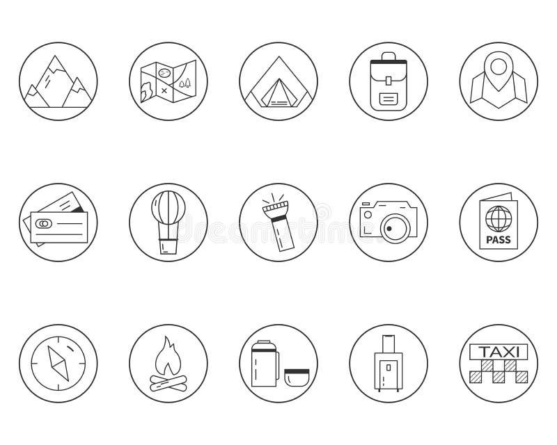 Campa för sommar och uppsättning för loppöversiktssymboler royaltyfri illustrationer
