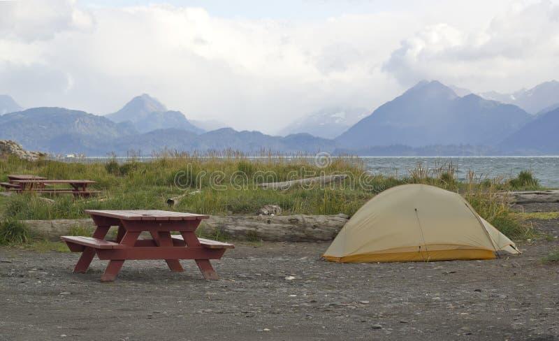 campa för strand royaltyfria foton