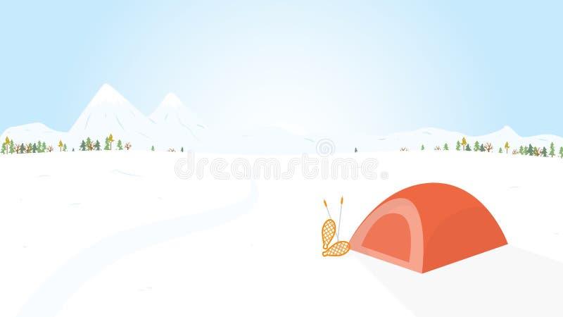 Campa för vinter som är trä med tältet. Vektorillustrati stock illustrationer