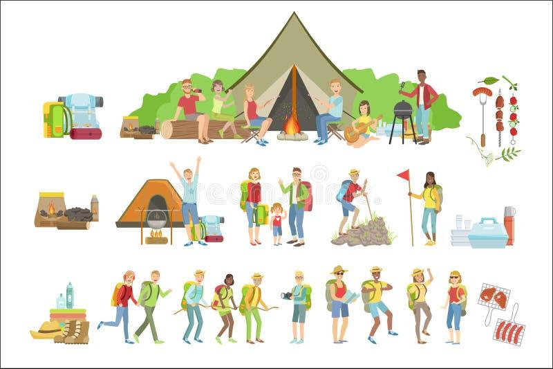 Campa f?r folk och deras utrustningupps?ttning royaltyfri illustrationer