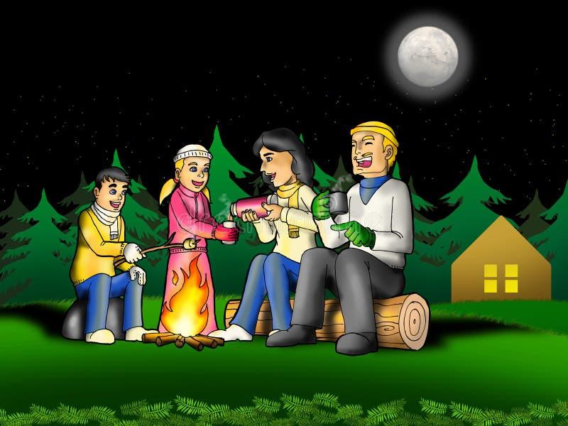campa familj royaltyfri illustrationer