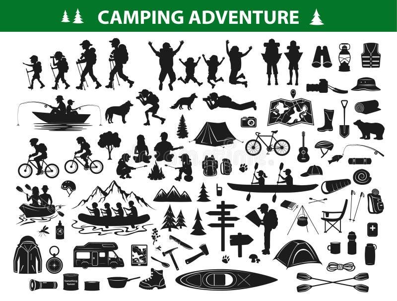 Campa fotvandra kontursamlingsuppsättningen stock illustrationer