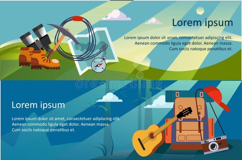 Campa, fotvandra och trekkinghorisontalbaner, sommarlopp, ecoturism, campa utrustningvektorillustration vektor illustrationer