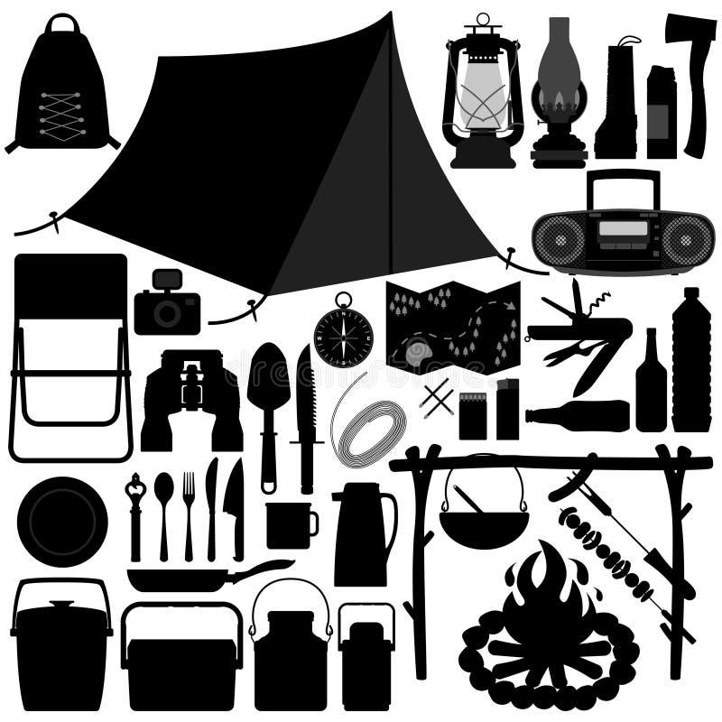 campa fritids- hjälpmedel för picknick stock illustrationer