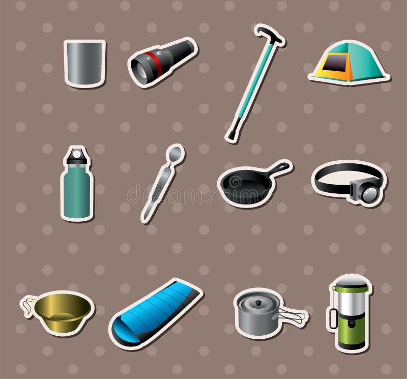 Campa hjälpmedeletiketter royaltyfri illustrationer