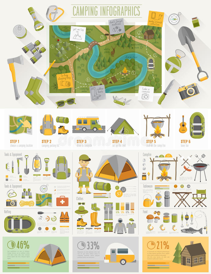 Campa Infographic ställde in med diagram och andra beståndsdelar vektor illustrationer