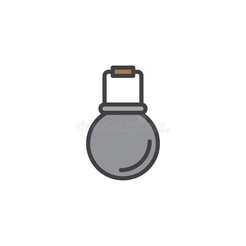 Campa kruka fylld översiktssymbol för kittel stock illustrationer
