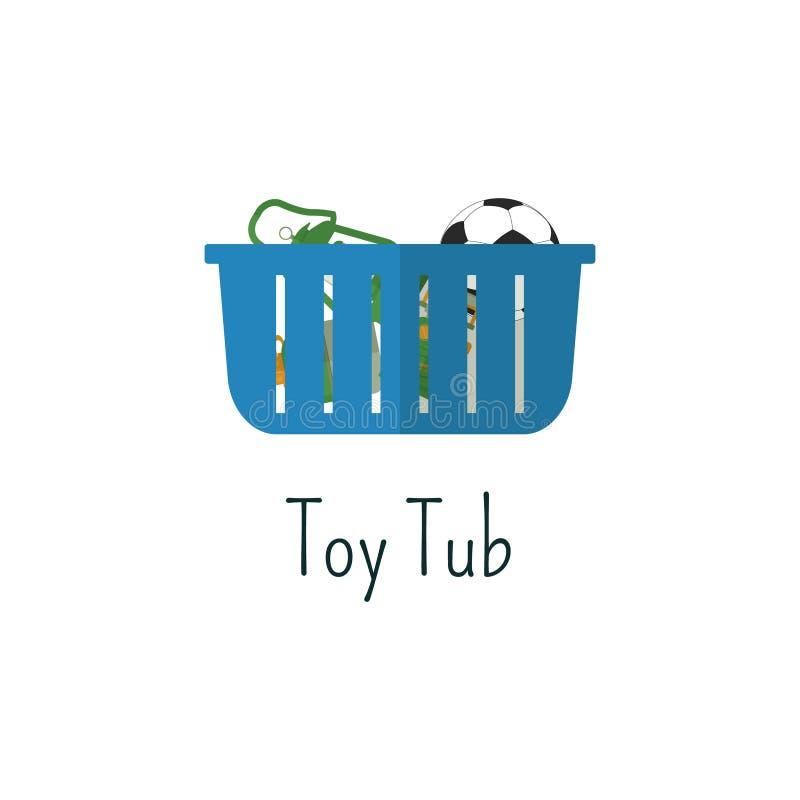 Campa leksaker badar den plana symbolen Isolerad färgpictogram för leksaker påse royaltyfri illustrationer