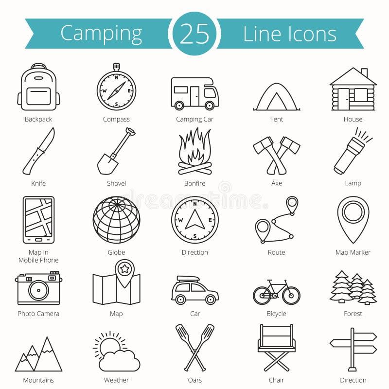 25 campa linje symboler vektor illustrationer