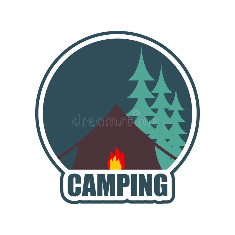Campa Logo Tältlägeremblem Skog Och Tält Brasa Vektor