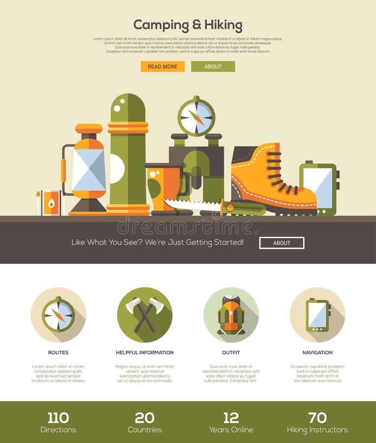 Campa och att fotvandra websitemallen med titelraden och symboler stock illustrationer