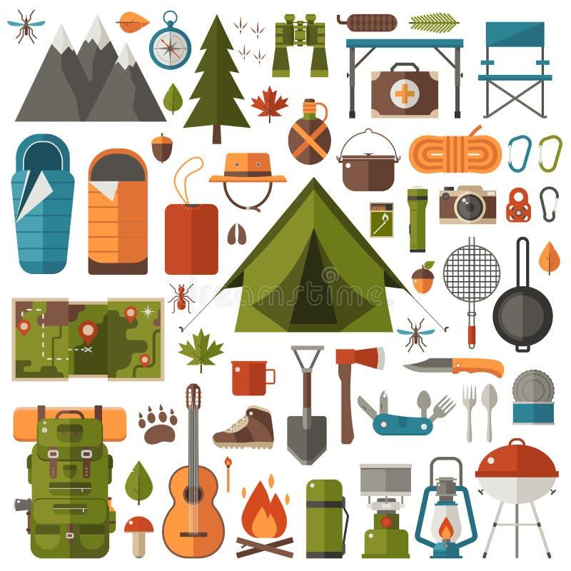 Campa och fotvandra utrustninguppsättningen stock illustrationer