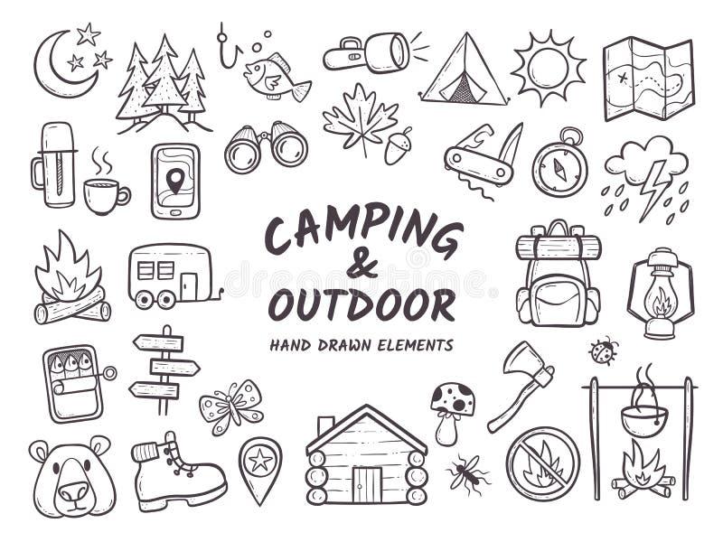 Campa och utomhus- drog beståndsdelar för affärsföretag hand stock illustrationer