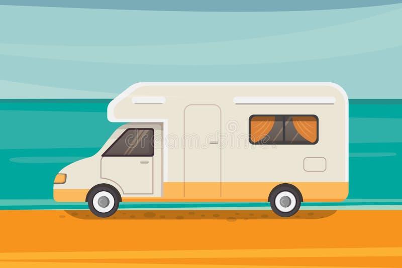 Campa på den tropiska stranden Sommarlopp, illustration för vektor för camparesläp royaltyfri illustrationer