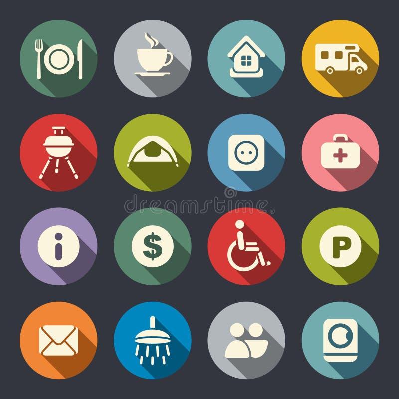 Download Campa plana symboler vektor illustrationer. Illustration av färgrikt - 37347000