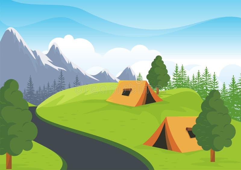 Campa plats med härligt naturlandskap royaltyfri illustrationer