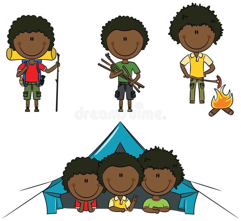 Campa pojkar för afrikansk amerikan royaltyfri illustrationer