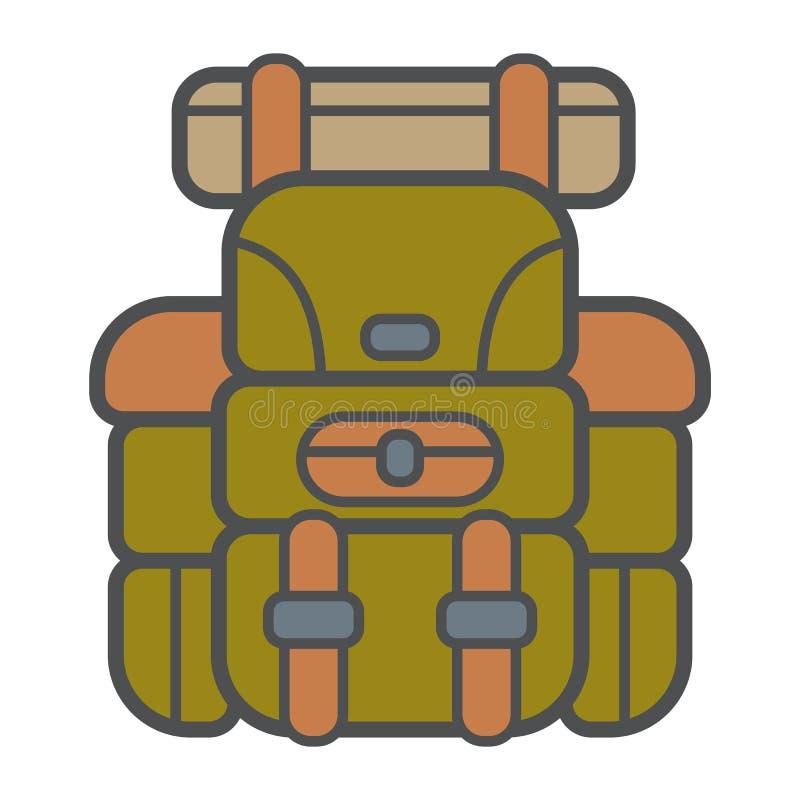 Campa ryggsäck i modern plan stil med översikten Attribut av handelsresande- och turistskogutrustning också vektor för coreldrawi vektor illustrationer