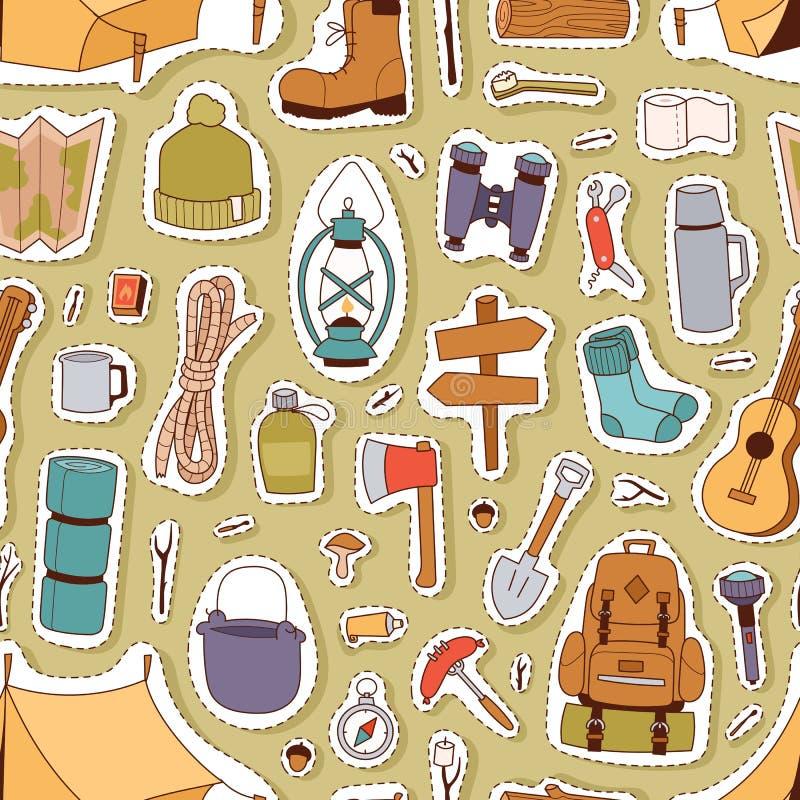 Campa sömlös modell för klistermärkear royaltyfri illustrationer