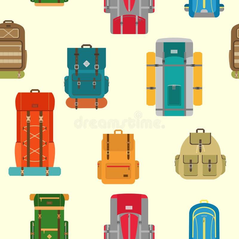 Campa sömlös modell för ryggsäckar stock illustrationer