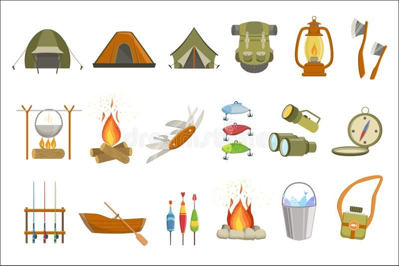 Campa släkt objektuppsättning royaltyfri illustrationer
