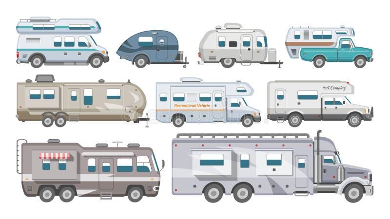 Campa släp för husvagnvektorrv och caravanning medel för transportable uppsättning för resa eller resaillustration av stock illustrationer