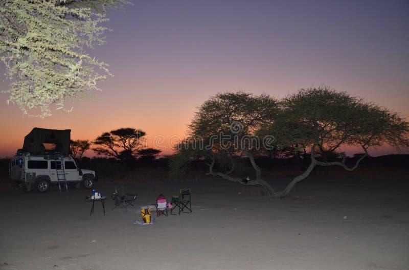 Campa solnedgång för afrikansk buske arkivbild
