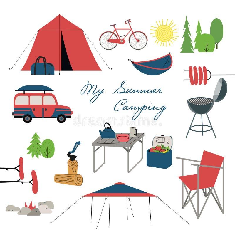 Campa symboler för sommar vektor illustrationer