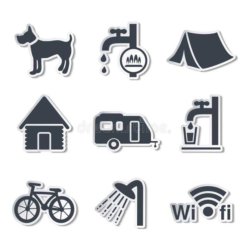 Campa symboler - klistermärkear royaltyfri illustrationer