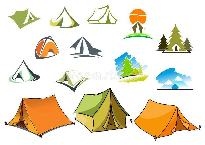Campa symboler med tält och naturen royaltyfri illustrationer