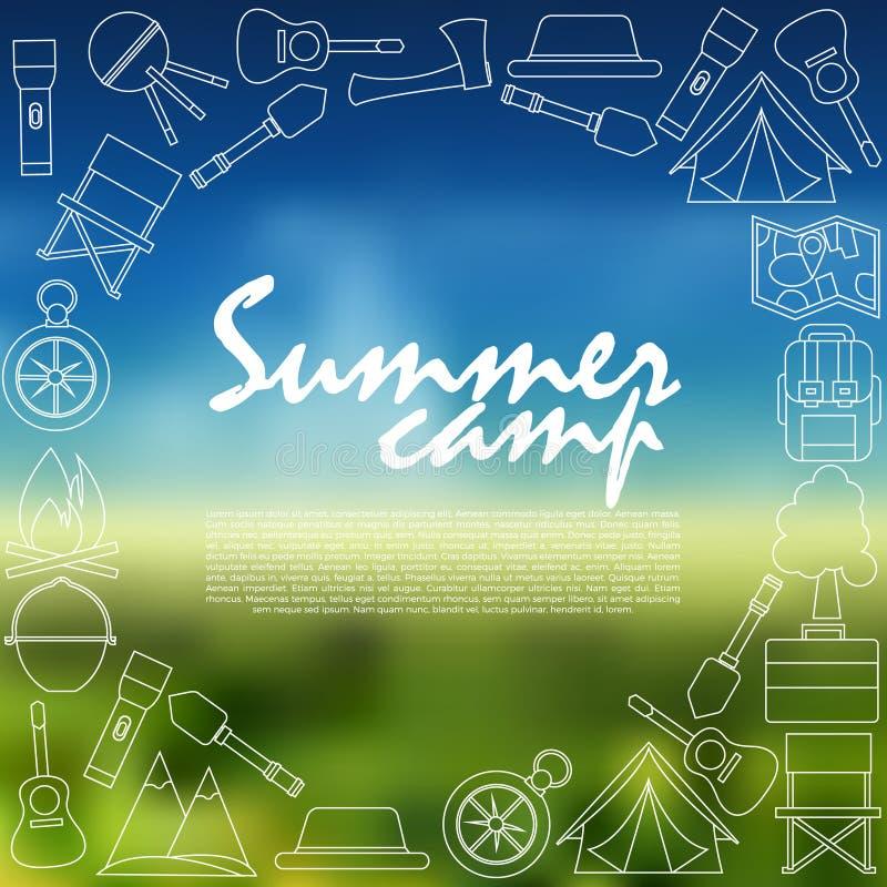 Campa symbolssamling Campa för sommar royaltyfri illustrationer