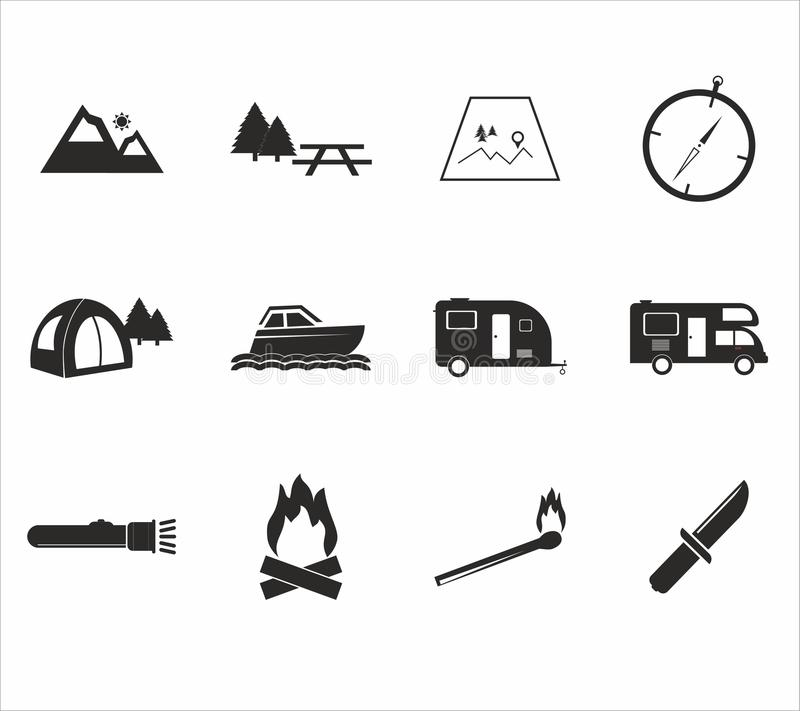campa symbolsset vektor illustrationer