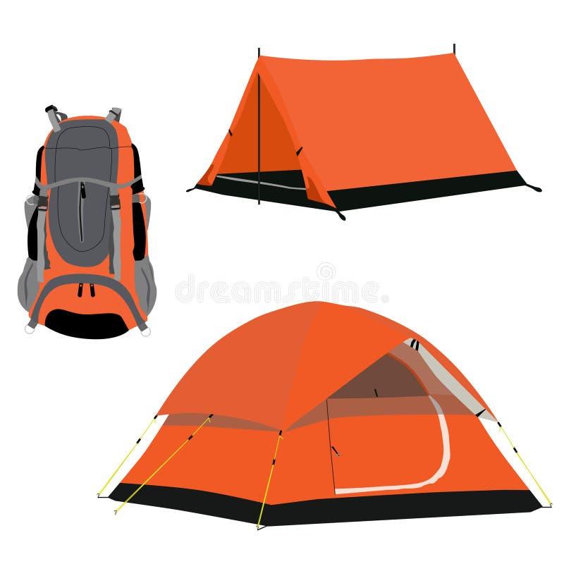 Campa tält och ryggsäck stock illustrationer