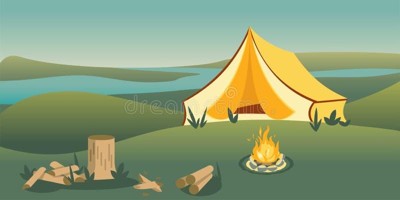 Campa tält på plan vektorillustration för kulle stock illustrationer