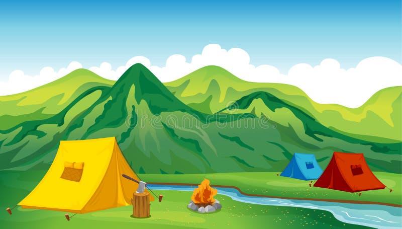 Campa tents royaltyfri illustrationer