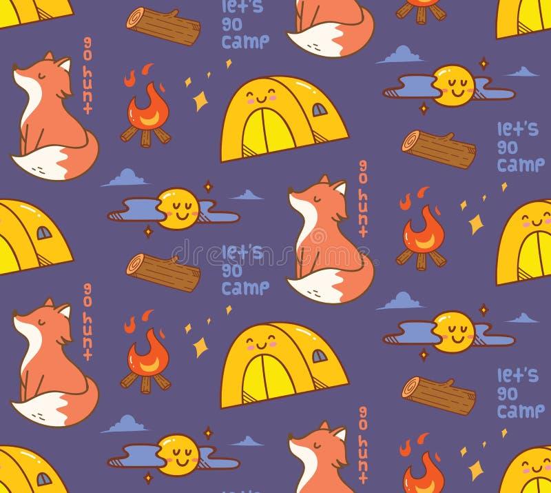 Campa themed sömlös bakgrund med räven vektor illustrationer