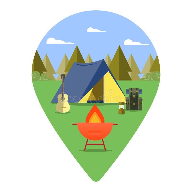 campa trän Etikettbegrepp royaltyfri illustrationer