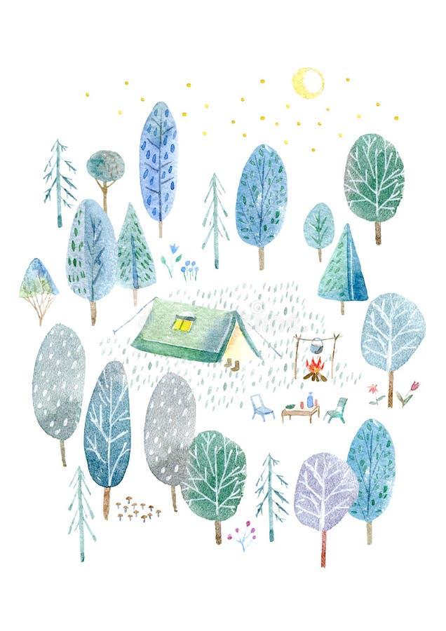 campa trän Tält, träd, brasa, växter och måne royaltyfri illustrationer