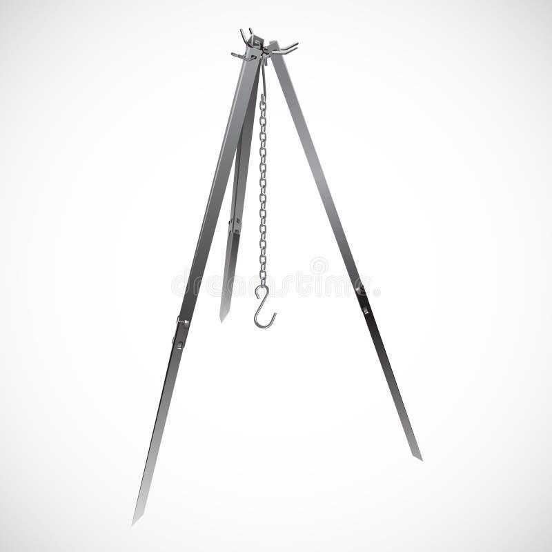 Campa tripod med den realistiska vektorn för chain krok stock illustrationer