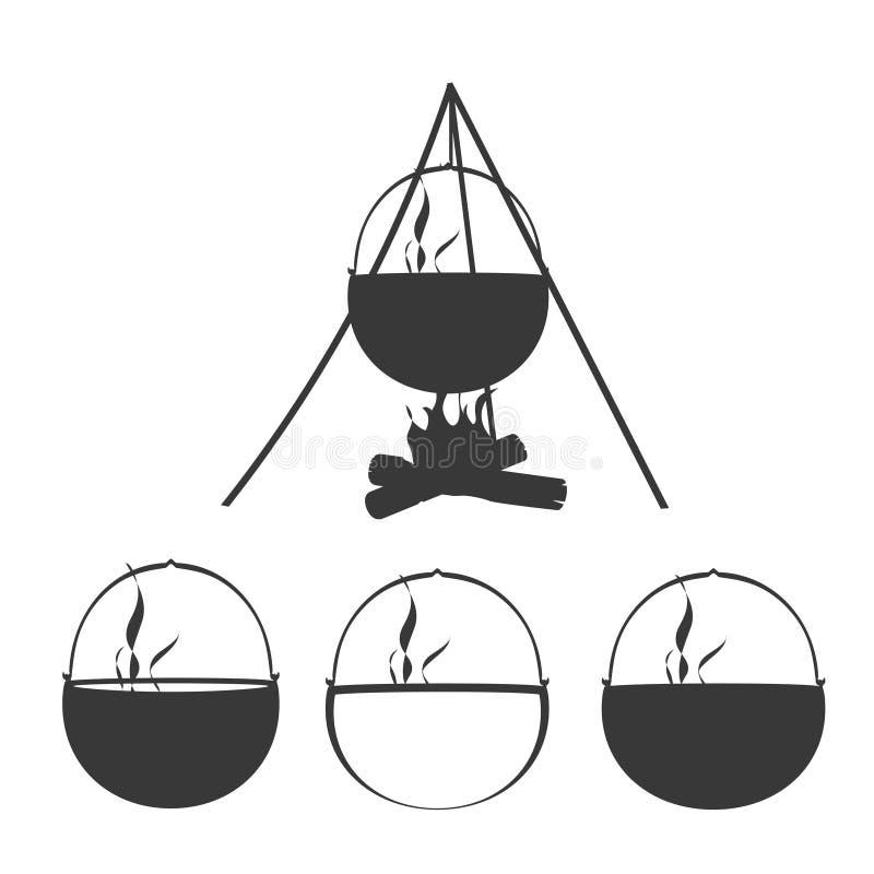 Campa uppsättning för brasakontursymbol royaltyfri illustrationer