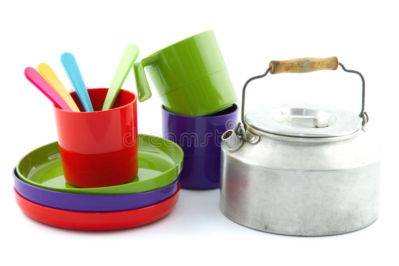 Campa utrustning för färgrik tappning royaltyfria bilder