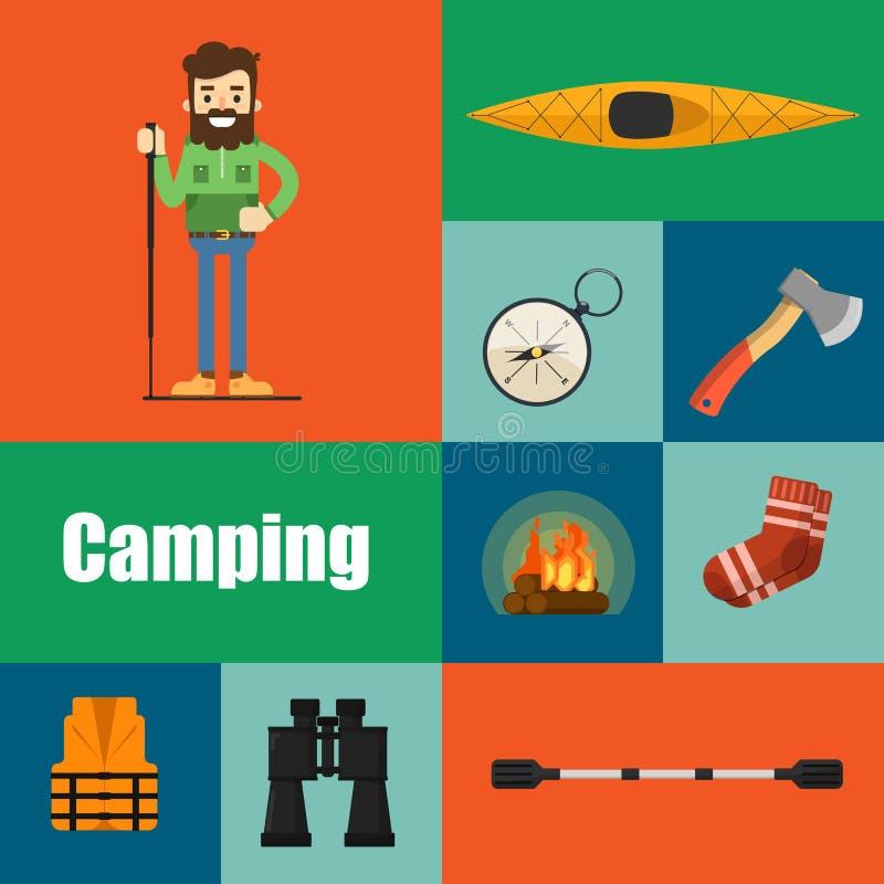 Campa utrustningbanersymboler och symboler vektor illustrationer