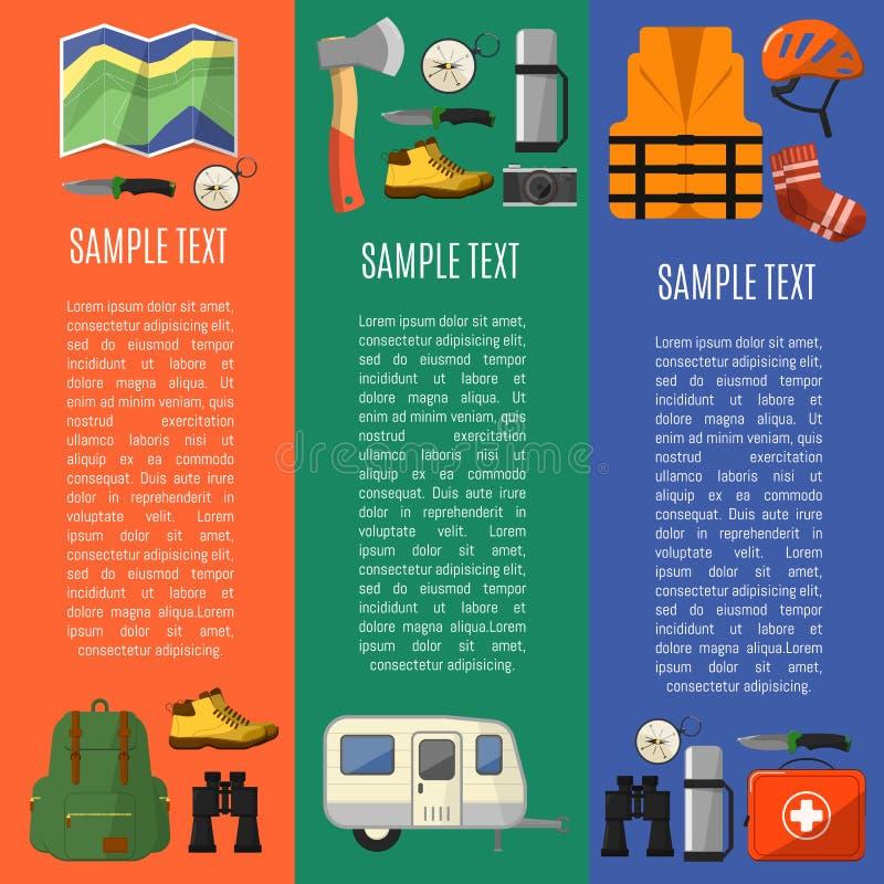 Campa utrustningbanersymboler och symboler royaltyfri illustrationer