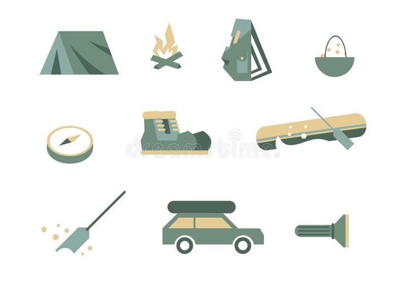 Campa utrustningsymboler royaltyfri illustrationer