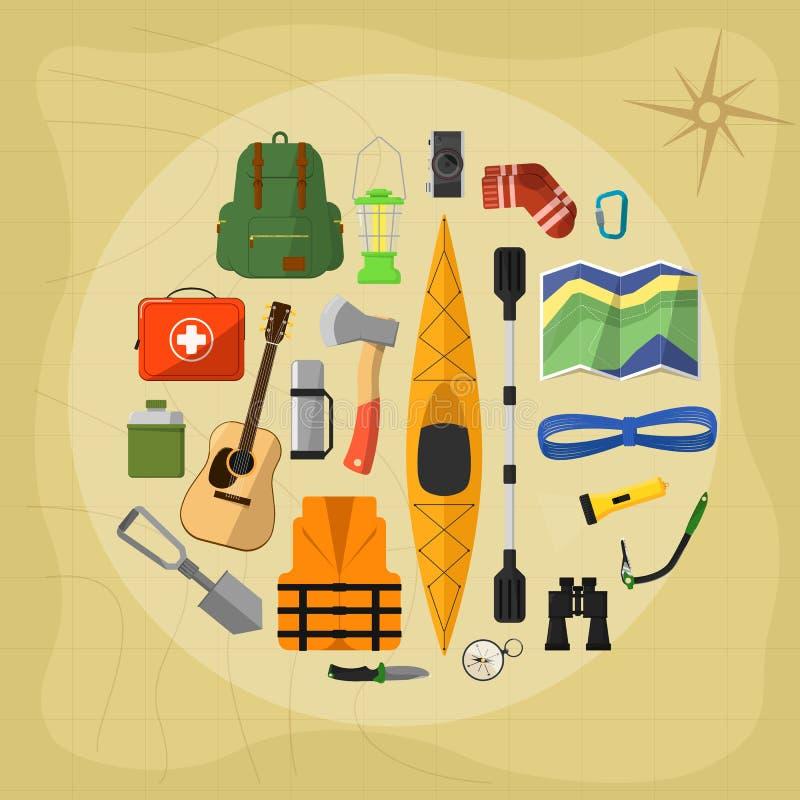 Campa utrustningsymboler och symboler royaltyfri illustrationer