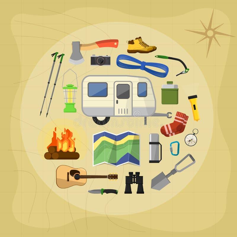 Campa utrustningsymboler och symboler stock illustrationer