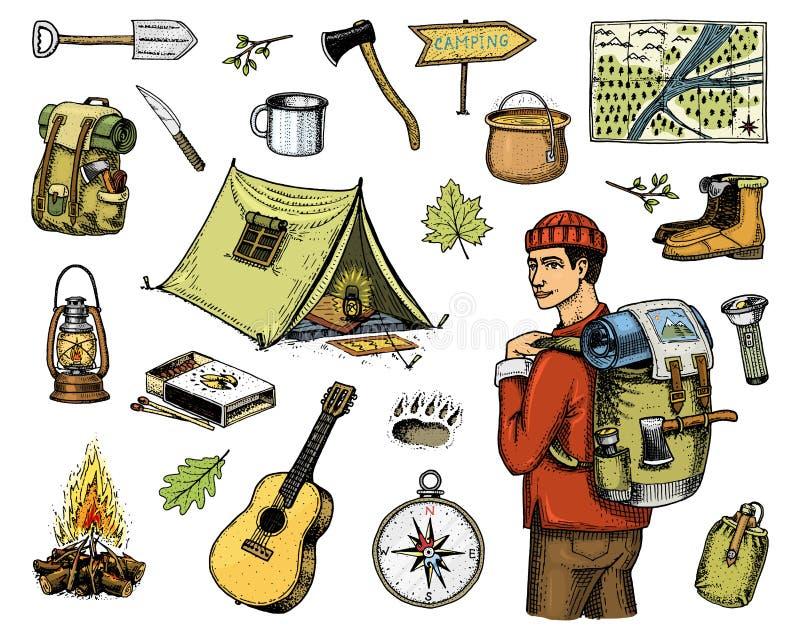 Campa utrustninguppsättning, utomhus- affärsföretag som fotvandrar Resande man med bagage turismtur inristat hand dragit gammalt stock illustrationer