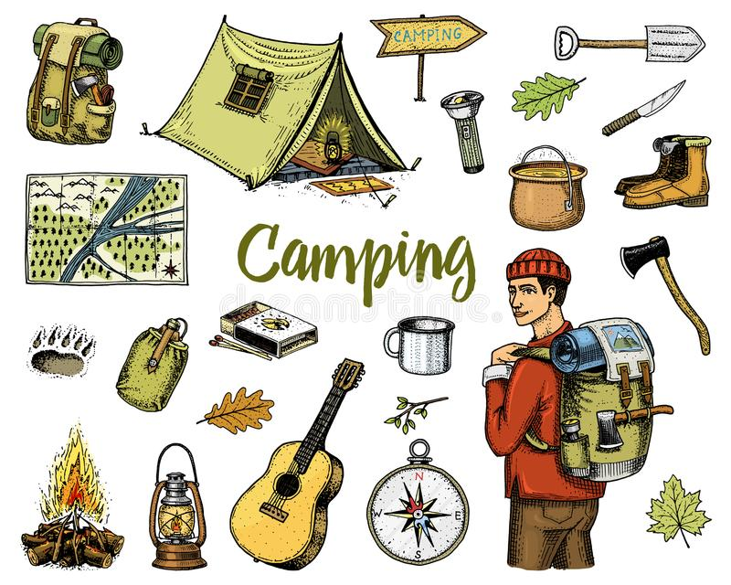 Campa utrustninguppsättning, utomhus- affärsföretag som fotvandrar Resande man med bagage turismtur inristat hand dragit gammalt royaltyfri illustrationer